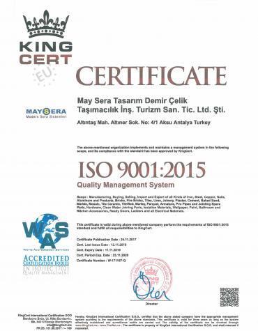 İSO 9001:2015 - Sertifikamız | MAYSERA